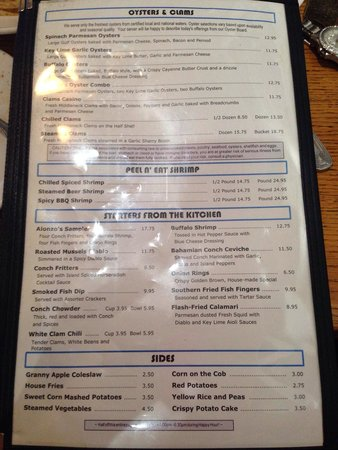 Alonzo's Oyster Bar: Updated menu for 4-630pm happy hour everything on this page is half off the price you see listed