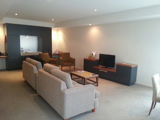 Living room of the 2 bedroom apartment at the Sebel Launceston.