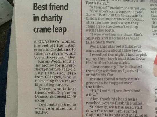 Highland Fling Bungee: Evening Times Monday 7th July 2014