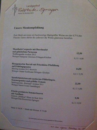 Landgasthof Rebstock: Vielversprechendes Menue