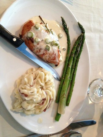 The Brick Restaurant & Tavern: Chicken breast with mashed potatoes and asparagus, good tavern fare