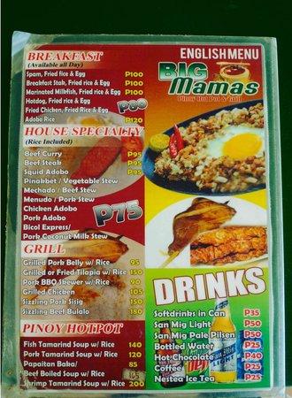 Big Mama's Pinoy Hot Pot & Grill: Their menu