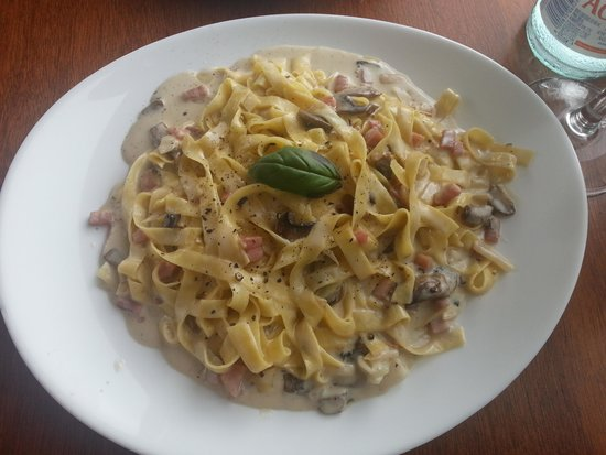 The Italian Job: Tallarines con salsa de nata, champiñones y jamón
