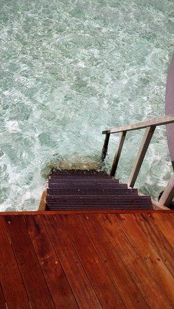 Constance Halaveli: steps into the ocean from water villa