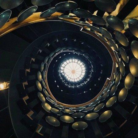 Looking Up At The Spiral Staircase At The Magic Circle