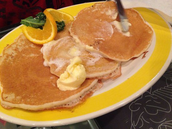 Derailed Diner : Breakfast menu served all day. Buttermilk pancakes stack of three!