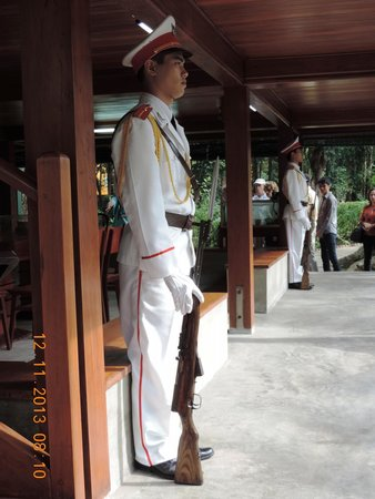 Ho Chi Minh Presidential Palace Historical Site: Ceremonial guards outside the rooms in Stilt house
