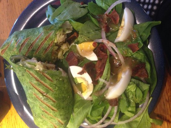 Blue Moon Coffee Shop: chicken wickle wrap with a side of bacon spinach salad