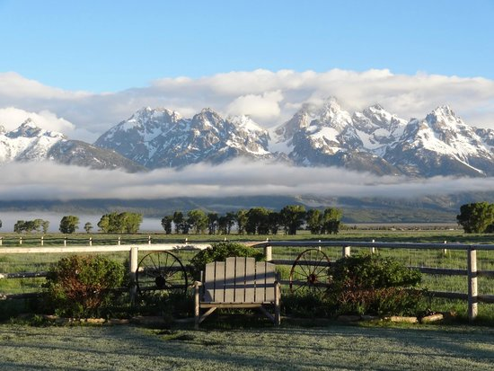 Moulton Ranch Cabins: backyard view from the cabin-Grand Tetons