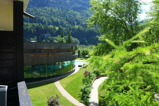 Gesundhotel Bad Reuthe: Blick von unserem Balkon auf den Badebereich