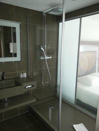 Novotel Paris Gare de Lyon: Стеклянная стена в ванной