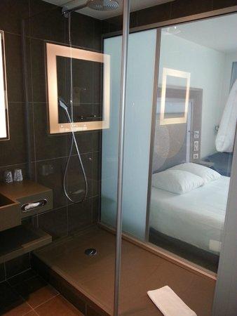 Novotel Paris Gare de Lyon : Стеклянная стена в ванной
