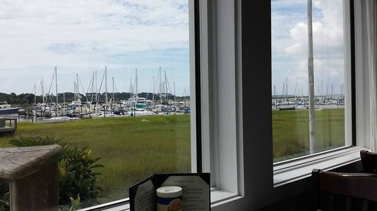 great view of the marina picture of coastal kitchen and