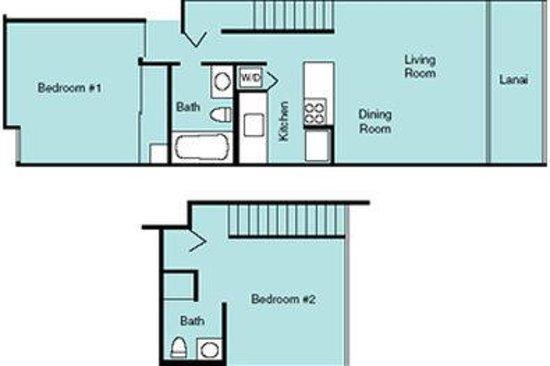 Maui Vista Resort: Two Bedroom Floor Plan