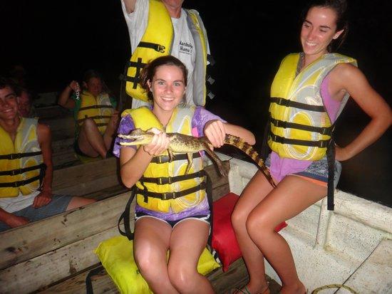 Jungle Land Panama Floating Lodge: My 14yr old on the night safari.