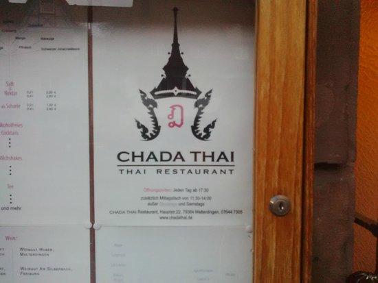 Chada Thai: menu à l'extérieur de l'établissement