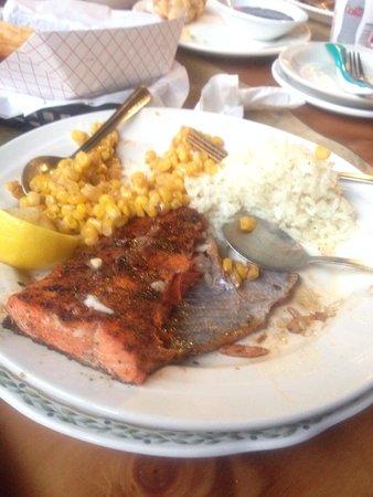 Exit Glacier Salmon Bake: Half eaten salmon bake dinner
