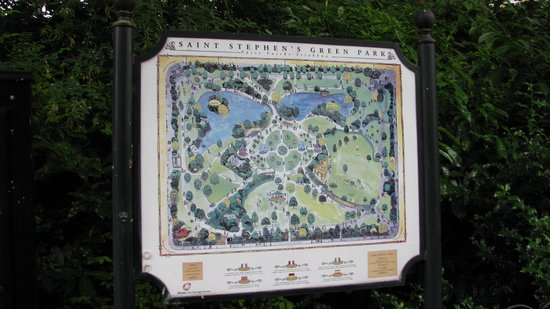 Parque St Stephen's Green: Map-sign of St. Stephen's Green Park
