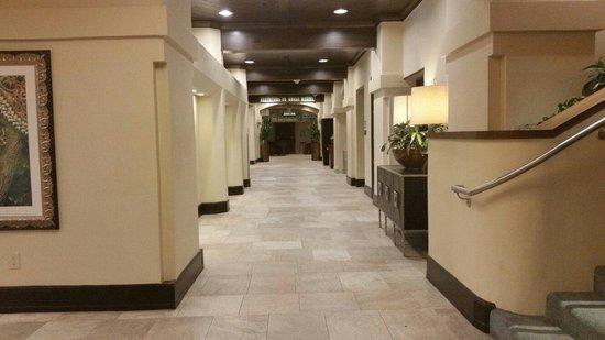 Hilton Palacio del Rio: First floor corridor from check-in to elevators. 11 July 2014.