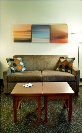 Staybridge Suites Minneapolis Maple Grove: Guests enjoy the end of the day in the separate living area.