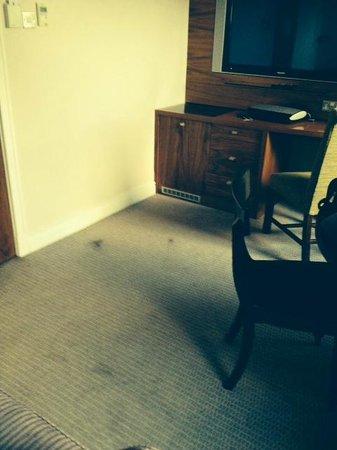 Clontarf Castle Hotel: The dark blotches on the carpet, are human hair.  Nasty.