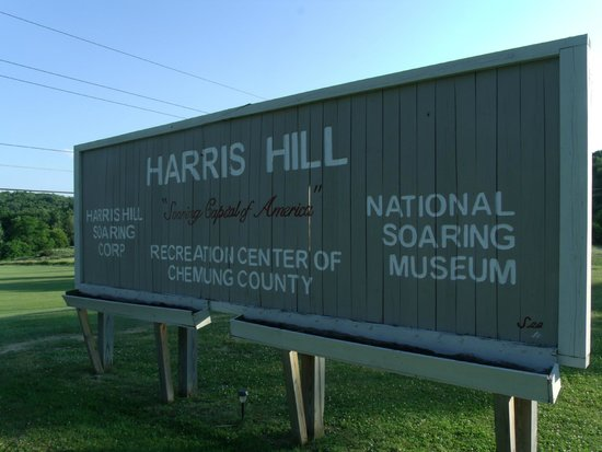 Harris Hill Soaring Center : Main sign across the road from the kiddie rides