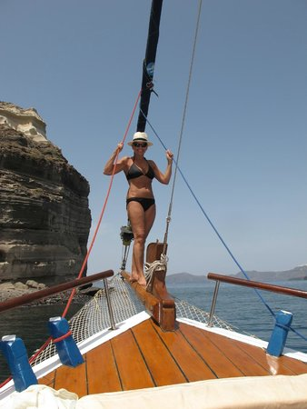 Captain George Santorini Yachting: Great photo op - be sure to hold on to secure yourself!