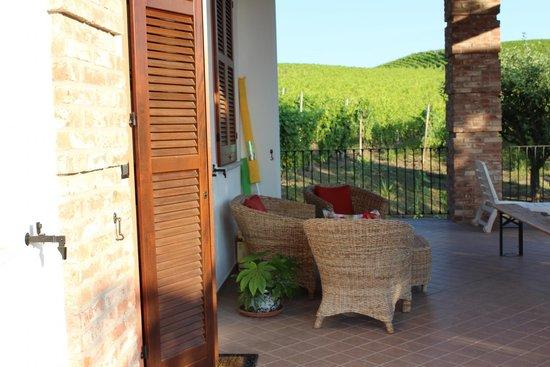 Bed and Breakfast Cascina Beccaris: Gedeckte Terrasse mit Sicht auf Weinberge