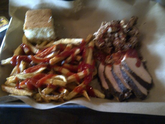 Mission BBQ: Meat combo with fries and corn bread