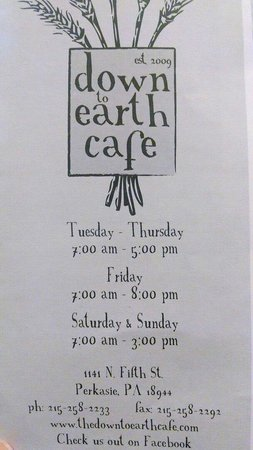 Down To Earth Cafe: Menu front.