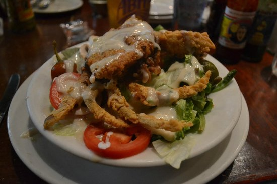 "Heaven on Seven: The waiter recommended ""light crab salad"" - deepfried crab over iceberg lettuce in honey-mayo"