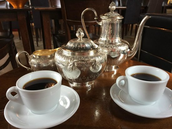 All Chocolate Kitchen: Siphon coffee served with vintage silver pots