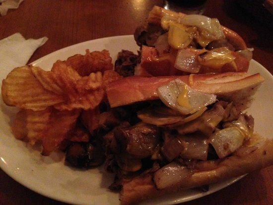 Philly Grille : (Philly) Steak Sandwich with Cheez Whiz; Homemade Chips
