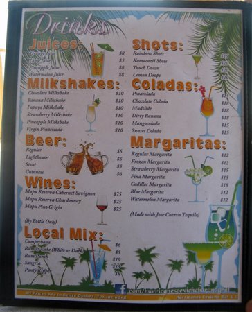 Hurricanes Ceviche Bar & Grill: Drink Menu