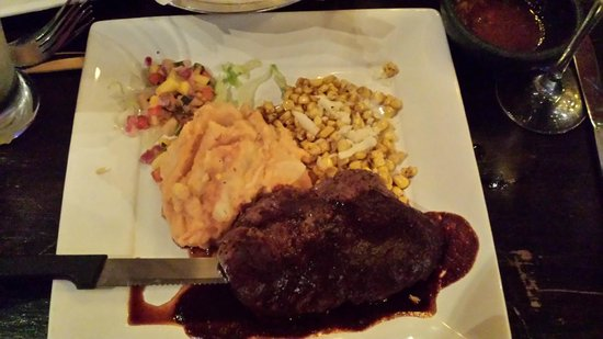 Agave Azul: Filete Tequila,  tender steak but boring sauce, Chipotle mashed potatoes were good.