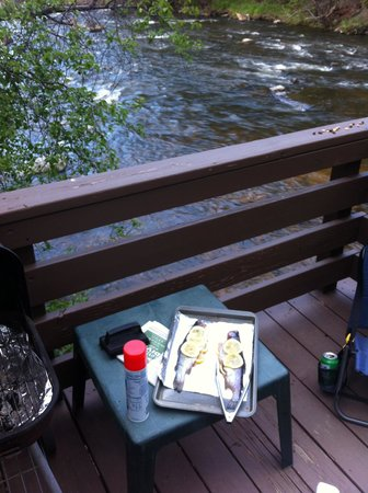 Loveland Heights Cottages: Grilling riverside