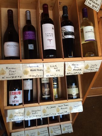Camino Bakery: Some of the wine selection.