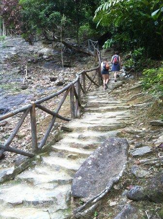 Telaga Tujuh Waterfalls: The climb to the top waterfall