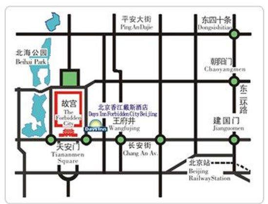 Days Inn Forbidden City Beijing: Map Of The Days Inn Forbidden City