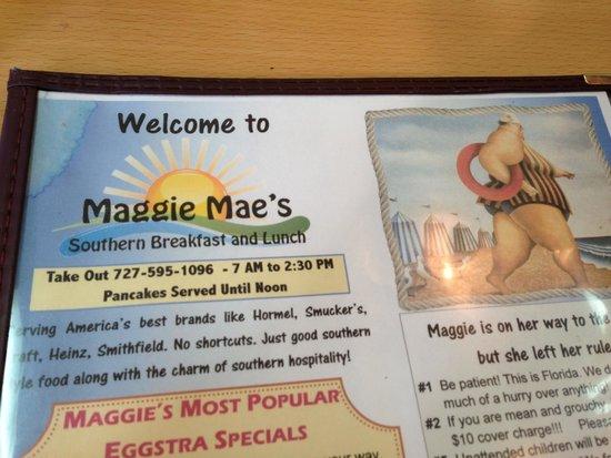 Maggie Mae's Sunrise Cafe : The menu at Maggie Mae's