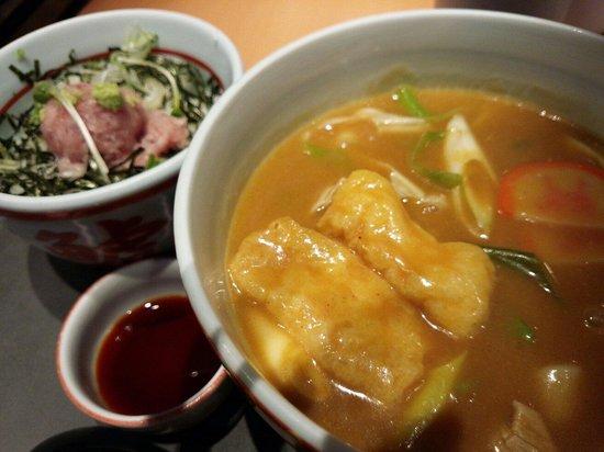 Wakashachiya Chubu Centrair International Airport : カレーきしめんとミニねぎトロ丼のセット