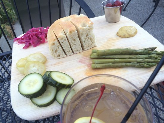 La Rosa Club: In house marinated pickles, grapes and whiskey sour fresh plate, yum!