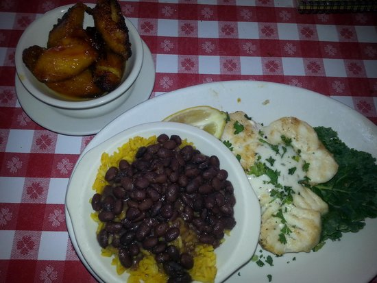Conchy Joe's Seafood: grilled grouper, plantains, rice&beans