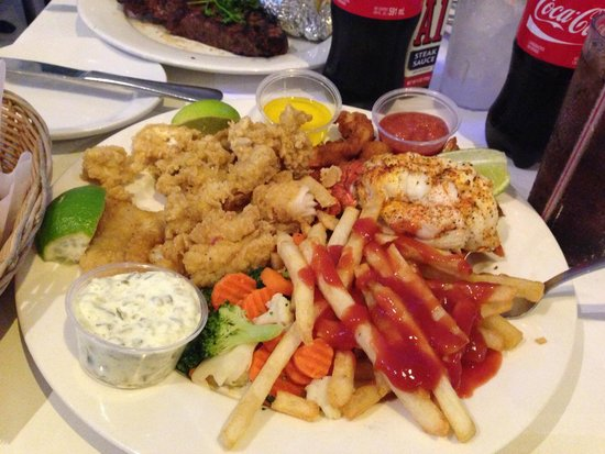 Zorba's Greek Restaurant: Seafood Platter (Lobster, Fried Shrimp, Cracked Conch, and Grouper Fingers)