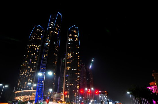 Jumeirah at Etihad Towers : The Etihad Towers at Night