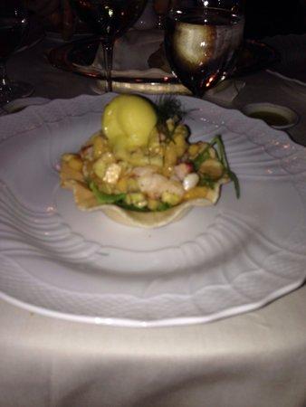 Oliviero Restaurant - Belmond Villa Sant'Andrea: Insalata di astice con semifreddo alla pesca