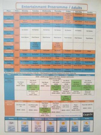 Pestana Porto Santo All Inclusive: events list