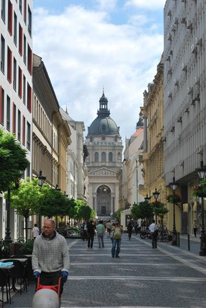 St. Stephen's Basilica (Szent Istvan Bazilika): View of Cathedral down Zriny Street