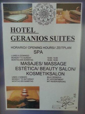 Geranios Suites & Spa Hotel : Spa_Horarios