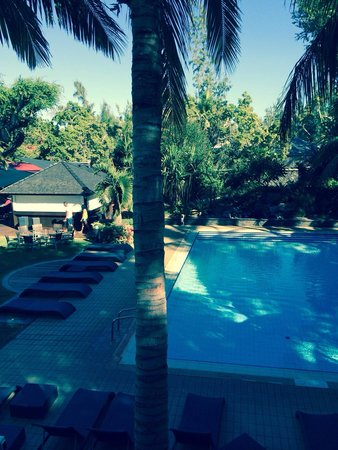 Alamanda Hôtel : Vue sur la piscine de la terrasse